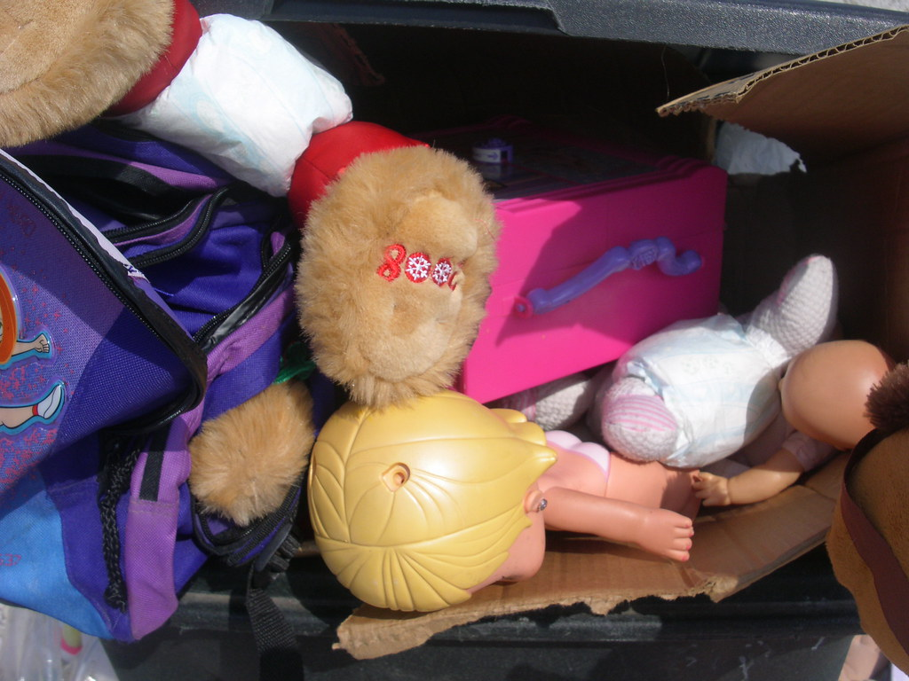 Christmas bear and some baby dolls in a box in the can along with a barbie carrier