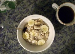 cashew coconut oat bran breakfast (buttermilk*blue) Tags: coffee breakfast yum coconut banana cashews blackcoffee oatbran