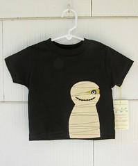 mummy on black tee (gigglepotamus) Tags: halloween kids handmade shirts monsters etsy mummy applique spooks