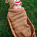 SOLD Sock Monkey 3 Month And Up Baby Knit Seed Pod Cocoon Plus Hat Also Use as a Halloween Costume or Great Photo Prop