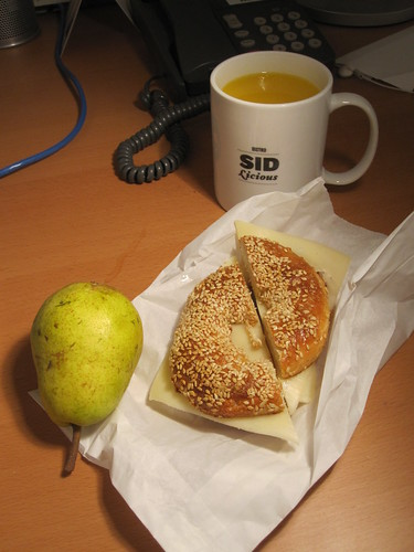 Juice and pear from the bistro (free); Cheese bagel from Pasta Café ($2.60)