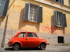 red fiat (Gvantsa27) Tags: auto old red italy house rome roma love window car wall painting italian paint italia peace flat fiat small trastevere via pace amore italiano streer cassa 5photosaday flickraward flickrunitedaward