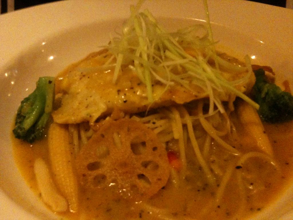 南瓜烙鮮魚排佐義大利麵