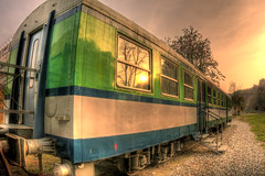 Old HDR Train (il COE) Tags: old sunset reflection station museum train photoshop canon high dynamic outdoor fisheye 16mm range varese hdr coe castiglione photomatix olona