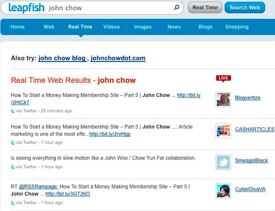 Leapfish Social Search Engine