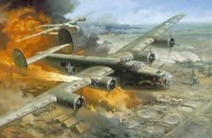 [フリー画像] 芸術・アート, 絵画・版画, 乗り物, 航空機, 爆撃機, B-24 リベレーター, 201010112300