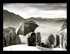 Elements of Outer Space (tSos Greq) Tags: mars moon mountain umbrella la rocks space femme greece paraguas rocas meteora chercher chercherlafemme bestcapturesaoi bestofmywinners