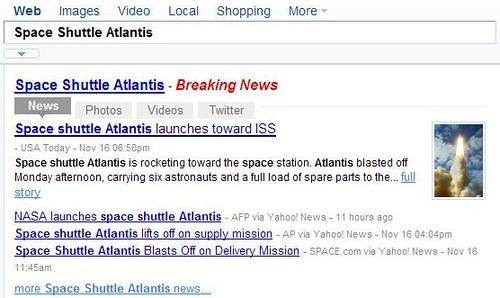 Yahoo! Search News Shortcut  - news tab