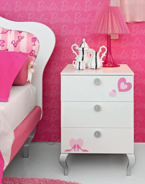 ... Barbie theme decoration for teen's bedroom. A series of pink wallpaper, ...
