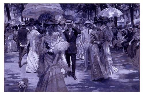 I.E.A. 8 SEPTIEMBRE 1907 - 2.º N.º XXXIII. Pág. 149. EL VERANEO EN SAN SEBASTIÁN.- PASEO EN EL «BOULEVARD»-Dibujo de Espí