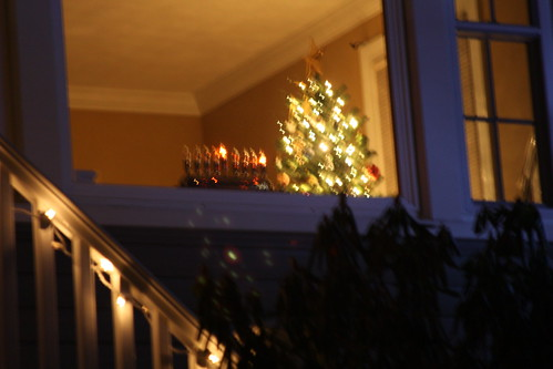 Outside of house decorated for Chanukah and Christmas-11