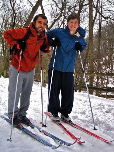"I HAVEN'T SEEN PEOPLE OUT HERE ON CROSS COUNTRY SKIS. DO YOU GET OUT HERE MUCH ON THEM? Andrew Jacobs (left): ""This is my first time."" Steven Jacobs: "" This is actually our first time. I just got a pair for Christmas so I decided to come out with my brot"