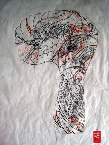 Dragon Tattoo Sleeve sketch! One of today's mission! work this out :) Jigsaw