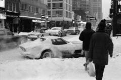 Scan10725cc (citatus) Tags: toronto canada winter storm 1976 1977 yonge isabella street bw minolta srt 102 1970s corvette snow driving
