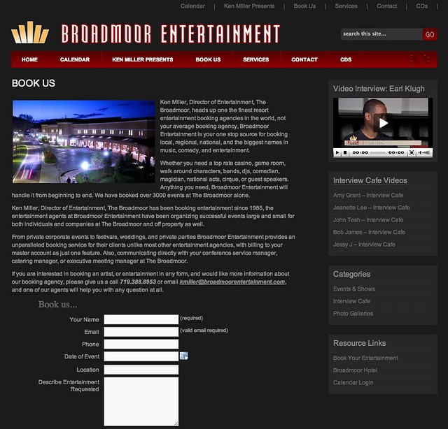 Colorado Springs website design enewsletter logo social media marketing for Broadmoor Entertainment by 720MEDIA