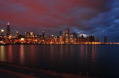 Spectacular Chicago!!! (Seth Oliver Photographic Art) Tags: chicago clouds reflections iso200 illinois nikon midwest nightlights searstower cityscapes lakemichigan lakeshoredrive nightshots trumptower beautifulclouds c