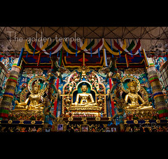 The golden temple (Kals Pics) Tags: travel sculpture india art tourism architecture gold nikon peace buddha statues buddhism holy 1855mm karnataka goldentemple kodagu bylakuppe d40 kalspics kushalanagar