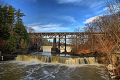 Normanskill at High Water (hbickel) Tags: bridge dam waterfalls trees clouds bridges canont6i canon photoaday pad highdynamicrange hdr