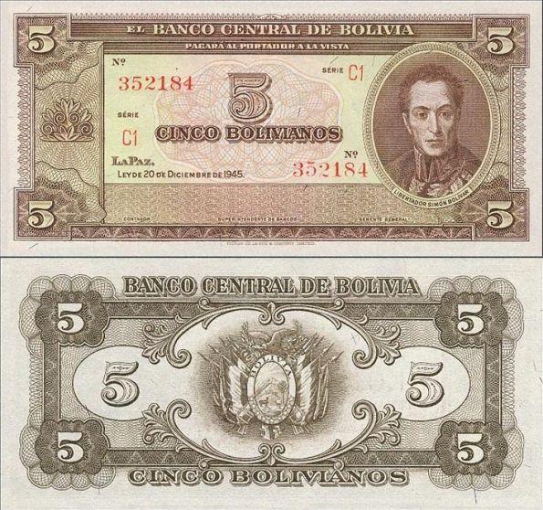 5 Bolivianos Bolívia 1945