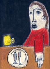 cena (battarox) Tags: red woman fish cup yellow dinner painting donna dish picture pesci figure mug cena disegno tazza piatto figura grawing
