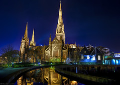 Heavenly Reflections (WilliamBullimore) Tags: longexposure church architecture night nightshot cathedral gothic stpatrickscathedral australia melbourne victoria explore frontpage hdr hdri digitalcameraclub colorphotoaward great123 fabbow atomicaward