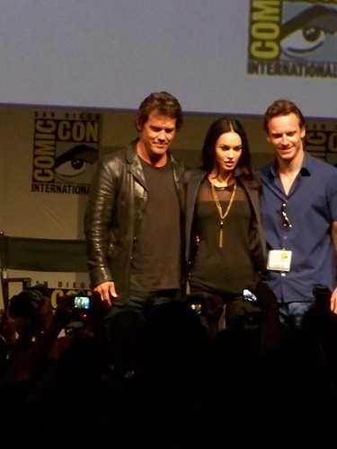 Josh Brolin, Megan Fox and Michael Fassbendor on the Jonah Hex panel at the Warner Brothers Presentation at San Diego Comic-Con International