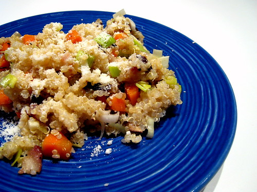 Quinoa with bacon, leeks, carrots...