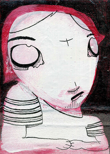 Jaded Girl, acrylic and ink on canvas, 2001 by Sarah Atlee