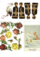 collage images0026 (mesec_od_papira) Tags: pink flowers winter red roses girl yellow vintage free stork blackdress oldpostcard collageimages christmaspostcard nocopyrights