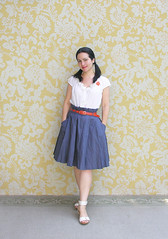 """Back -to -School"" Outfit :) (Elsita (Elsa Mora)) Tags: blue school portrait orange inspiration selfportrait color art girl smile fashion photoshop self vintage hair happy outfit nice shoes uniform artist little personal top sandals background brooch inspired remix seed style skirt blouse hidden blogged wardrobe straight hm elsa mora selfexpression elsita"