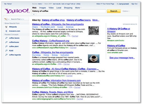 New Yahoo! Search Page - Show Results