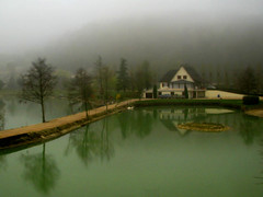 Misty Western France (Storm Crypt) Tags: house mist lake france water rain misty fog train french countryside europa europe agriculture normandy coutnry westernfrance mistywater hautenormandy