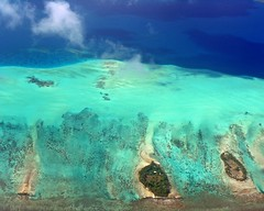 more blues ... (Z Eduardo...) Tags: sea nature water island paradise pacific blues lagoon coralreef turchese frenchpolynesia tourquoise fromthesky mywinners attol raiateia
