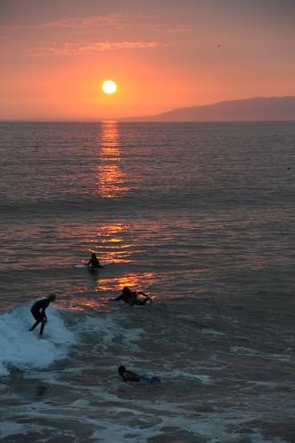 fire sunset from venice beach