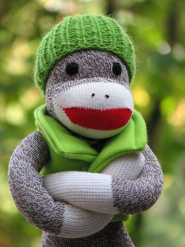 Green Outdoor Sock Monkey