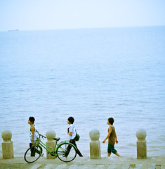 Spec-1688 (ken.flame) Tags: china blue sea youth bay three boat seaside ship view shanghai wind memory bicyle jinshan