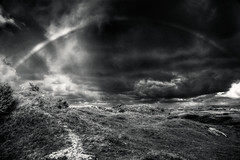rainbow (black and white) (mbecher) Tags: light blackandwhite bw germany landscape rainbow nikon europe d70 dunes norderney northsea schwarzweiss bnw 1870mm regenbogen duenen polfilter the4elements mbecher