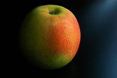 apple (John Macukas) Tags: camera red food black green apple yellow table nikon d100 sb800 sb800flash diydiffusionsystem