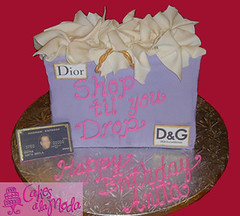Shopping Bag Cake (cakesalamoda) Tags: birthday cake shopping bag dior dg shoptilyoudrop designerlabels blackamex shoppingcake cakesalamoda