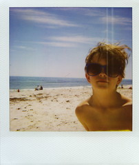 Beach Boy. (Jessse [ANALOGUE]) Tags: ocean sun film beach sunglasses polaroid spirit australia bluesky retro perth 600 cottesloe analogue dexter westernaustralia mosmanpark