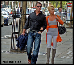 `163 (roll the dice) Tags: life street uk people urban orange bird london art classic westminster shopping skinny model couple chelsea raw natural candid strangers streetphotography location american unknown wife affair unaware brompton sw1 brosnan londonist sw3