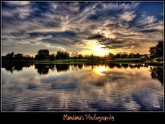 Dancing clouds (Mandana (on and off)) Tags: sunset lake reflection nature water clouds ripples hdr