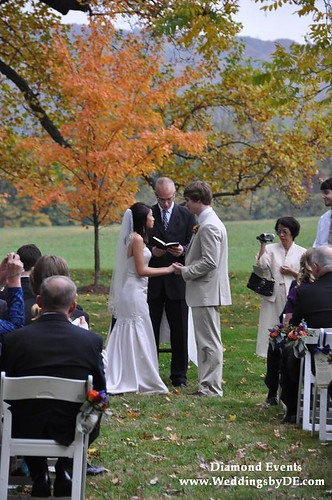 Wedding ceremony at Whitehall Manor Bluemont Virginia