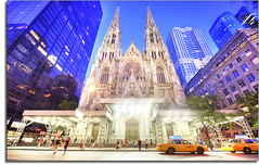 Scaffolded Saint Patrick's Cathedral (kw~ny) Tags: newyorkcity irish church saint nikon catholic manhattan midtown blackwidow stpatrick hacks hdr cabbies mosoleum yellowcabs kevinwoods stpartrick bishopdolan