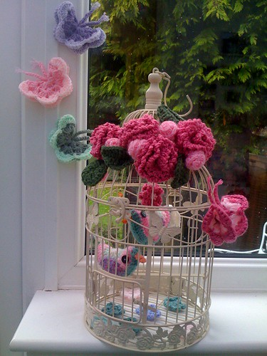 'Crocheted Butterflies, Crocheted Flowers, Crocheted Birdies!'.