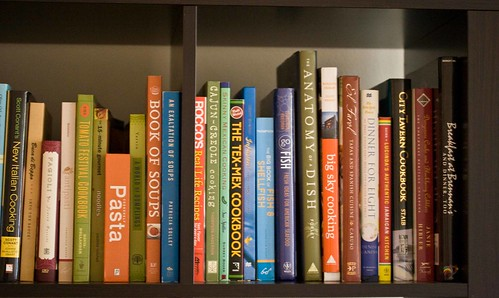 cookbooks on the shelves