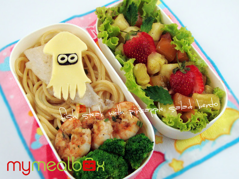 Fish steak and pineapple salad bento