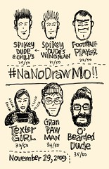 NaNoDrawMo 2009 - 30-35/50 - 6 Faces