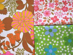 Vintage 60-70's Daisy Fat Quarters (Niesz Vintage Fabric) Tags: pink orange flower green floral daisies vintage mod teal fabric daisy lime flowerpower lilyofthevalley