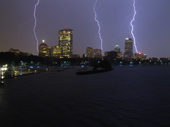 OMFG (historygradguy (jobhunting)) Tags: storm water boston skyline night buildings river ma three cityscape skyscrapers massachusetts charlesriver newengland hero thunderstorm lightning hancock mass prudentialcenter pru bostonist bigmomma lightningbolts oldhancock universalhub